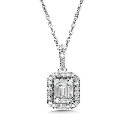 Plumb Collection Baguette and Diamond Accented Pendant