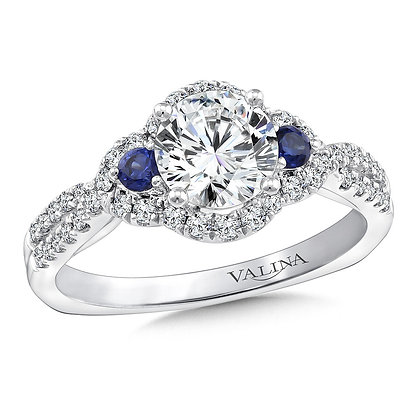 DIAMOND AND BLUE SAPPHIRE HALO ENGAGEMENT RING
