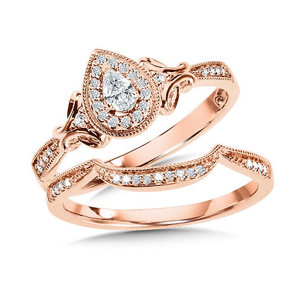Pear-Shaped Halo Diamond Engagement Ring and Wedding Band Bridal Set