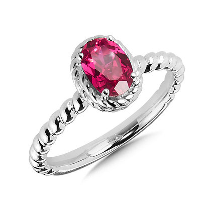 Created Ruby Ring in Sterling Silver