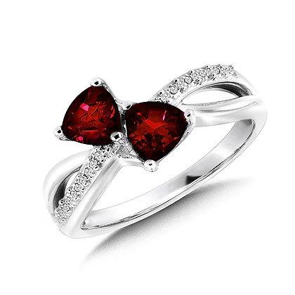 Trillion-Cut  Garnet and Diamond Criss-Cross Ring