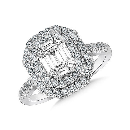 Hexagonal Plumb Collection Double-Halo Cluster Diamond Ring