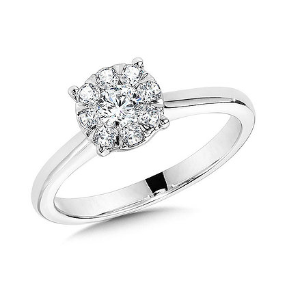 Solitaire Cluster Diamond Mirage Engagement Ring
