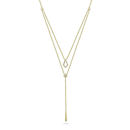 DUEL-CHAIN LAYERED DIAMOND NECKLACE
