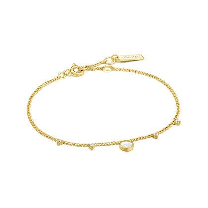 Gold Mother Of Pearl Drop Disc Bracelet