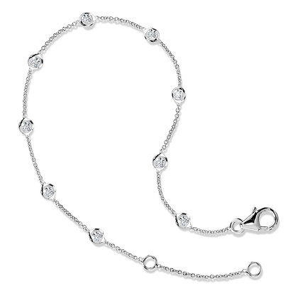12 Inch Bezeled Diamond Link Bracelet