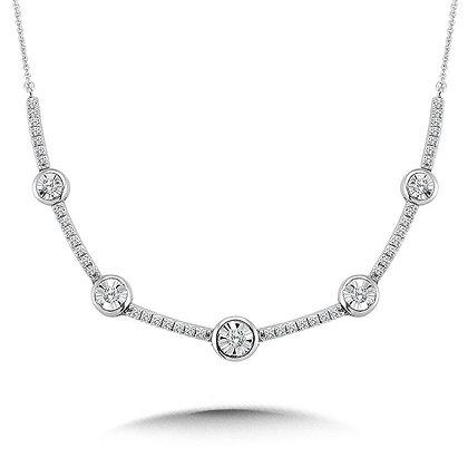 Bezeled & Miracle-Platted Diamond Necklace