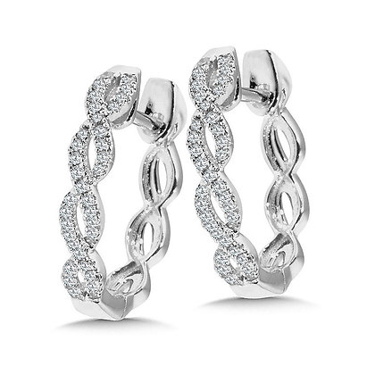 Criss Cross Diamond Hoop Earrings
