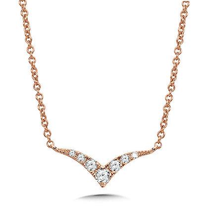 Curved Chevron Diamond Necklace