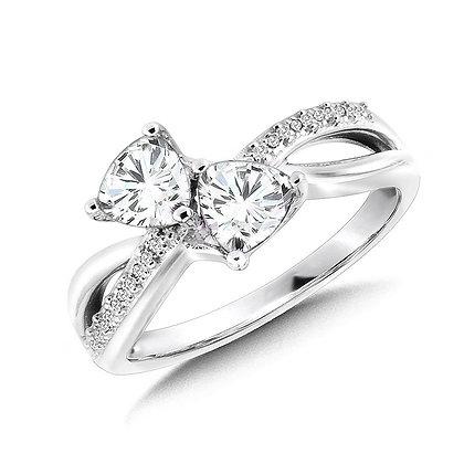 Trillion-Cut  White Topaz and Diamond Criss-Cross Ring
