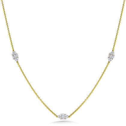 MARQUISE-SHAPED CLUSTER DIAMOND CHAIN NECKLACE