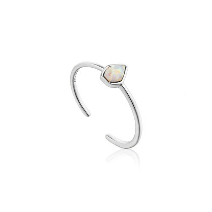 Opal Color Adjustable Silver Ring