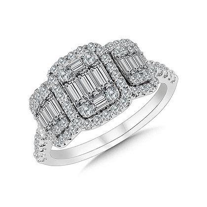 3-Stone Illusion Rectangular Plumb Collection Cluster Diamond Ring