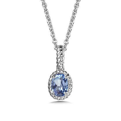 Created Blue Sapphire Pendant in Sterling Silver