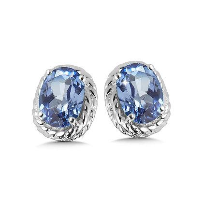Created Blue Sapphire Earrings in Sterling Silver