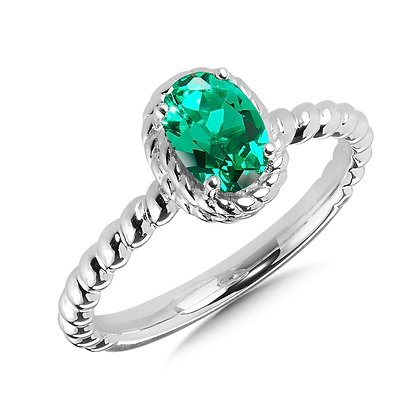 Created Emerald Ring in Sterling Silver