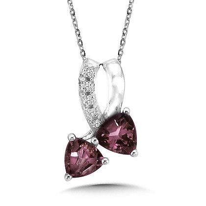Trillion-Cut  Created Alexandrite and Diamond Pendant