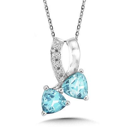 Trillion-Cut Blue Topaz and Diamond Bypass Pendant