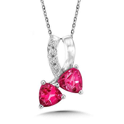 Trillion-Cut Created Pink Sapphire and Diamond Pendant