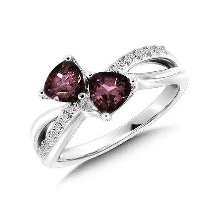 Trillion-Cut  Created Alexandrite and Diamond Criss-Cross Ring