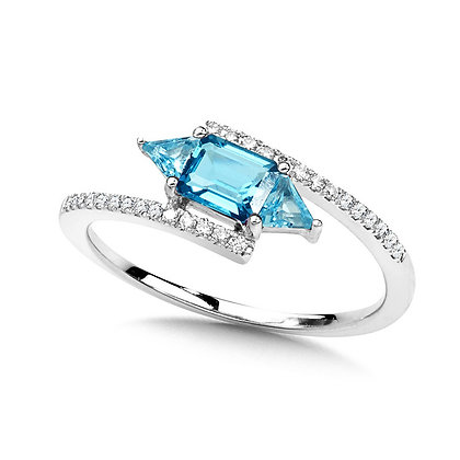 GEOMETRIC DIAMOND, LONDON AND SWISS BLUE BYPASS RING