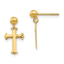 14k Madi K Cross Dangle Post Earrings