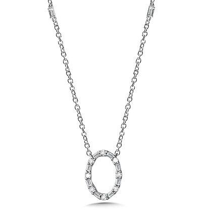 Oval Baguette Diamond Necklace