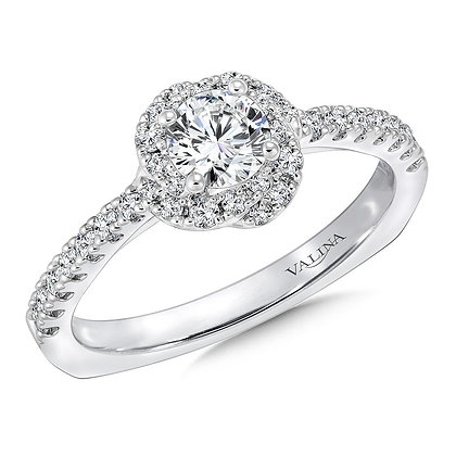 FLORAL SHAPE HALO DIAMOND ENGAGEMENT RING