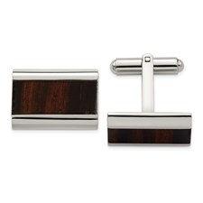 Stainless Steel Polished Black Wood Inlay Enameled Cufflinks