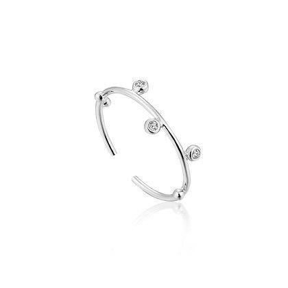 Silver Shimmer Stud Adjustable Ring