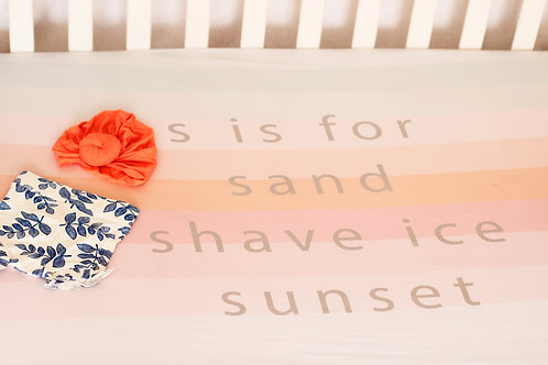 """""""s is for sand, shave ice, sunset"""" Baby Crib Sheet"""