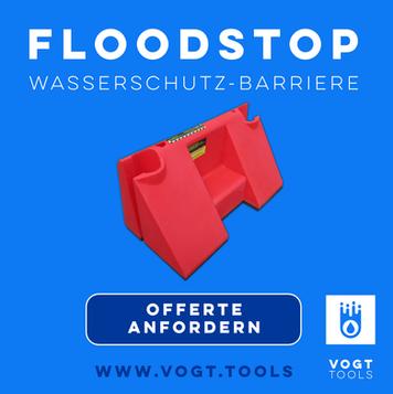 Floodstop-Wassersperren I Die innovativen Wasserbarrieren aus England jetzt bei vogt tools I Mobiler Hochwasserschutz Schweiz