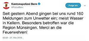 Unwetter Starkregen Meldung Kantonspolizei Bern