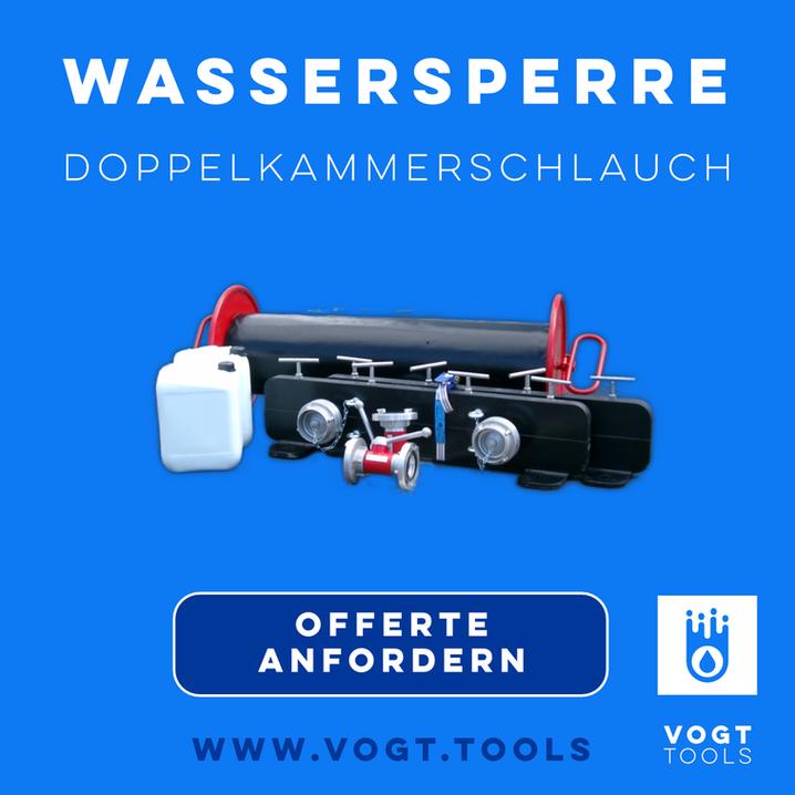 Doppelkammerschlauch Öko-Tech, die Wassersperre, Löschwasserrückhlatung, Ölsperre in einem I Jetzt bei vogt tools I Mobiler Hochwasserschutz Schweiz
