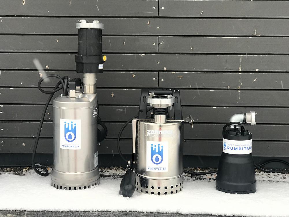 vogt tools I Wintertest Tauchpumpen Zehnder Drain WX 11 MA, Zehnder E-ZW 65 A und Flachsauger Zehnder FSP 330