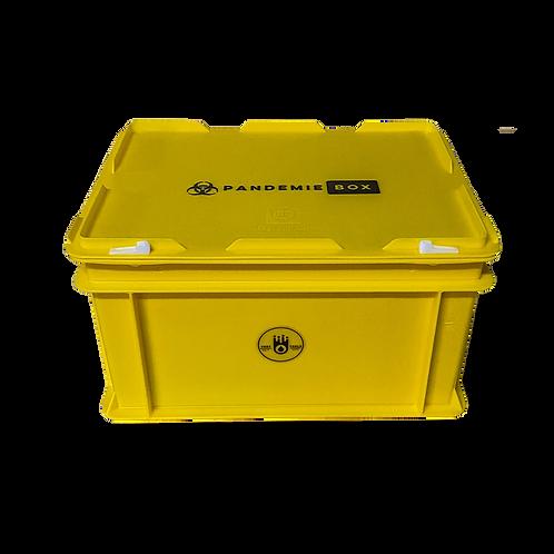 PANDEMIEBOX 20 Liter gelb zum Befüllen I Ohne Inhalt mit Beschriftung