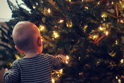 Baby Admiring a Christmas Tree