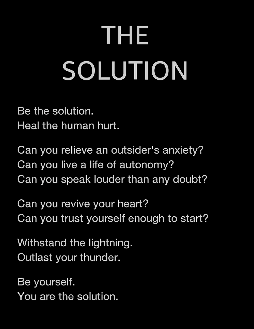 The solution is a poem from Katie Moran's book The Spirit Inside
