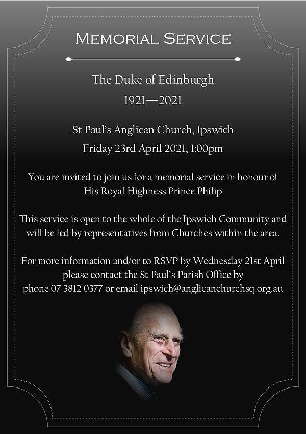 Prince Philip memorial service invitatio