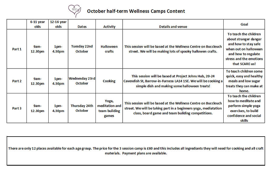 october half term timtable activity cont