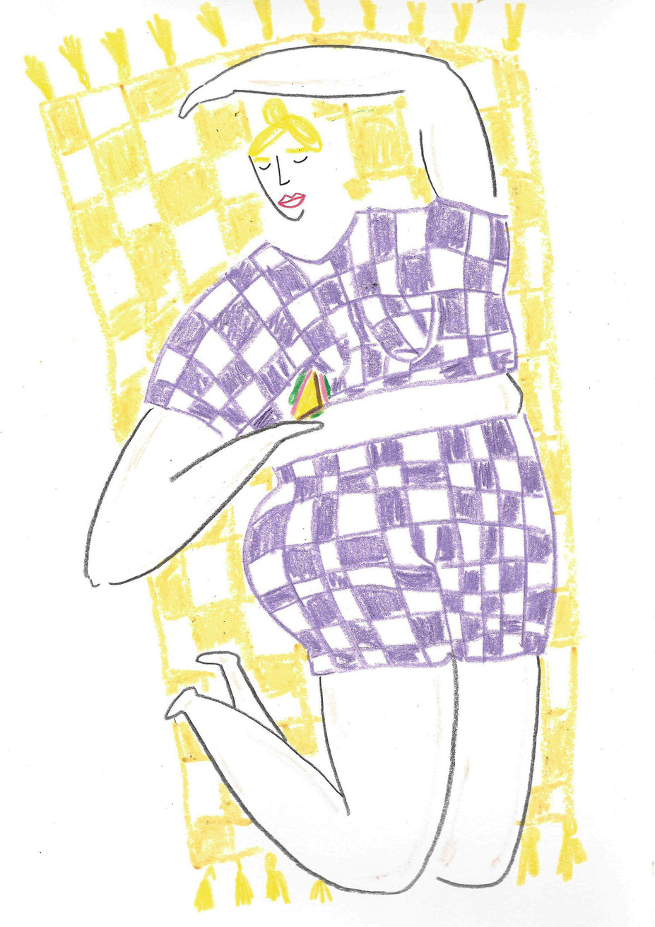 Gingham Lounging Lady
