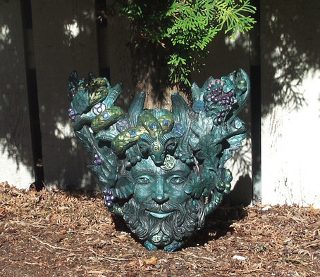 Green Man Head piece I painted