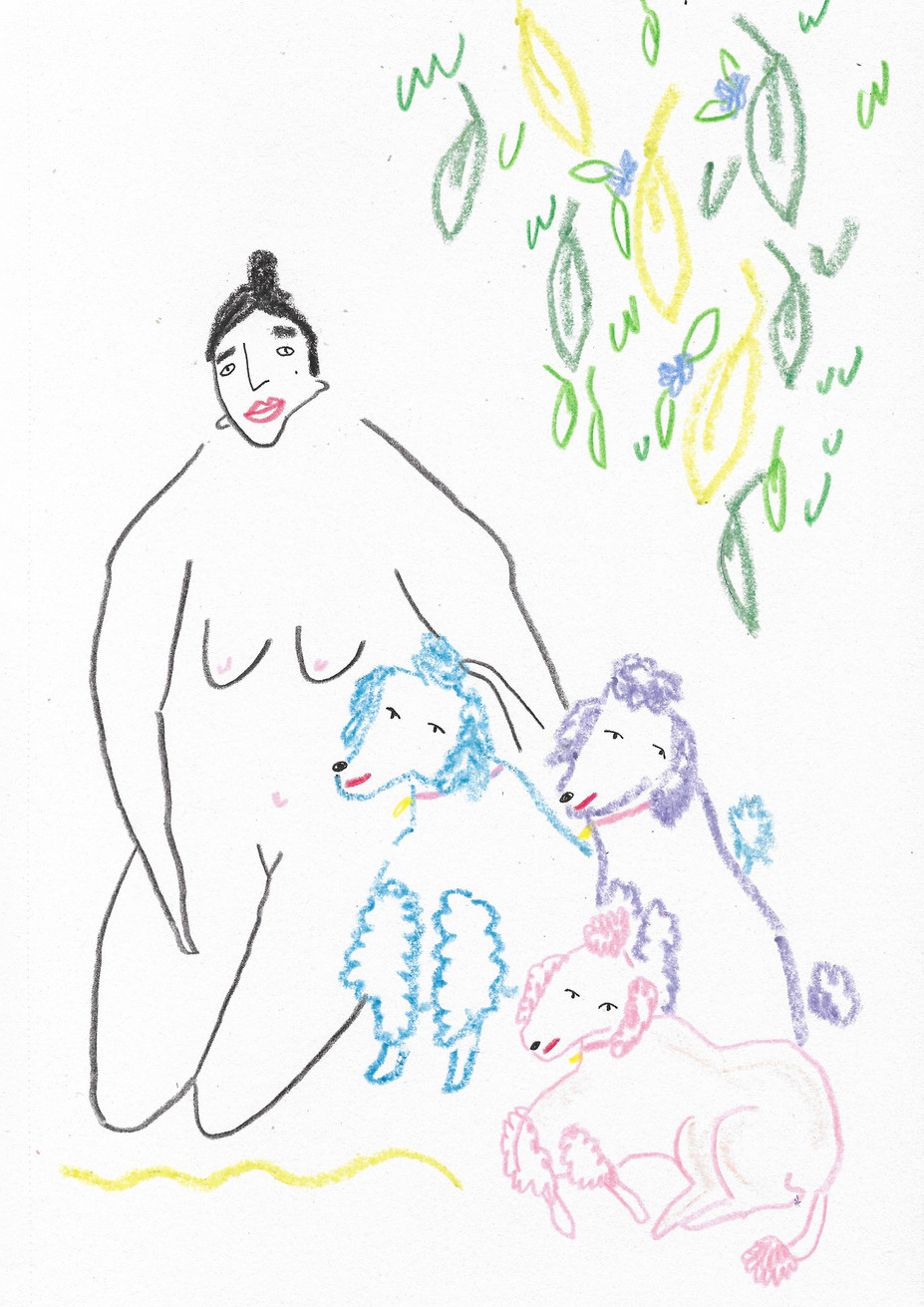 Park Lady with her Poodles
