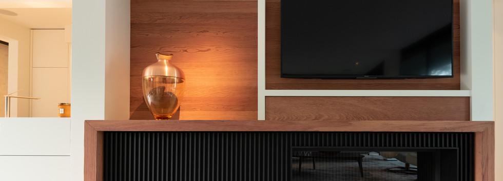 Ingebouwde open haard en TV meubel
