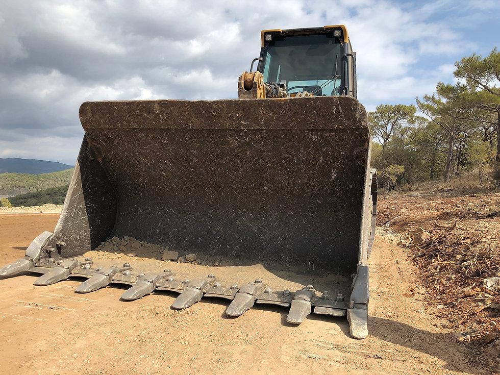 Bucket of crawler bulldozer. Earthmoving