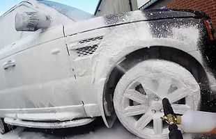car valeting with snow foam