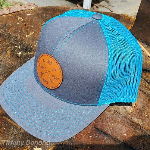 EAT SLEEP PRAY HUNT Leather Patch Trucker Hat