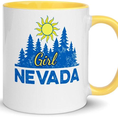 Colorful mug with our custom Nevada girl design on both sides.