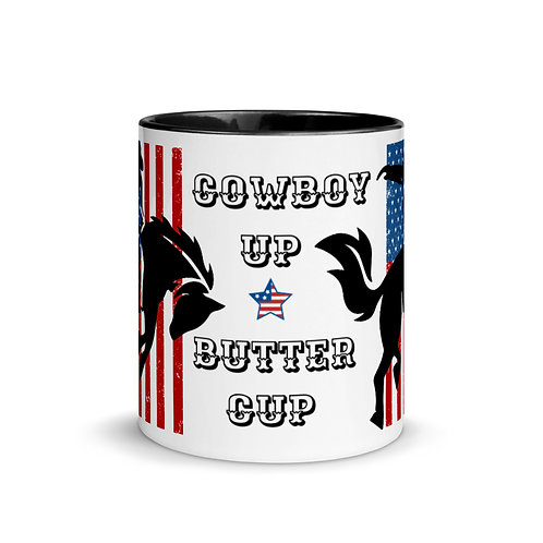 Colorful mugs with our custom Cowboy Up design.