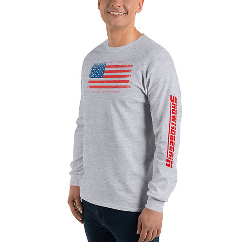 Long sleeve flag tee with our snowmobile design.